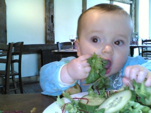 Callis at 6.5 months piles into some salad