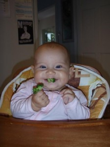 Victoria's babe enjoys her broccoli using the Rapley-approved method