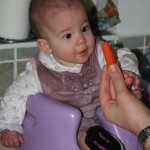 Megan eyes up a carrot